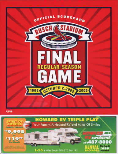 2005 St. Louis Cardinals Final Game Scorecard