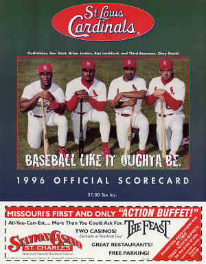 1996 St. Louis Cardinals Scorecard