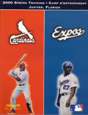 2000 St. Louis Cardinals Official Spring Traning program