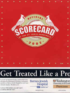 2002 St. Louis Cardinals Official Scorecard