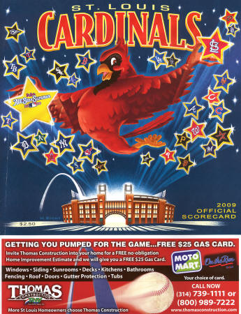 2009 St. Louis Cardinals Official Scorecard