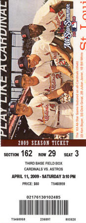 2009 St. Louis Cardinals Ticket Stub