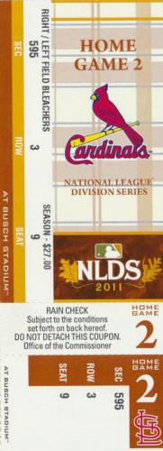2011 NLDS St. Louis ticket