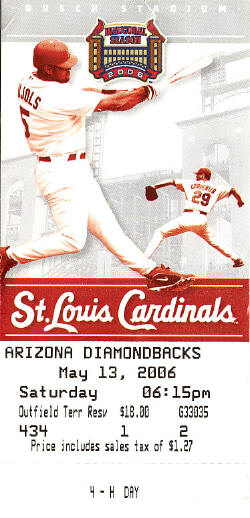 St. Louis Cardinals 4H Day - 2006 - Ticket stub