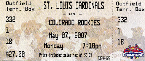5/7/2007 - Ticket Stub