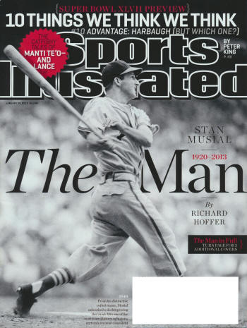 "Sports Illustrated - 1/28/13 - ""1949 - From his distinctive coiled stance, Musial unleashed a slashing swing that made him one of the most feared hitters in history, certainly its most consistent."""