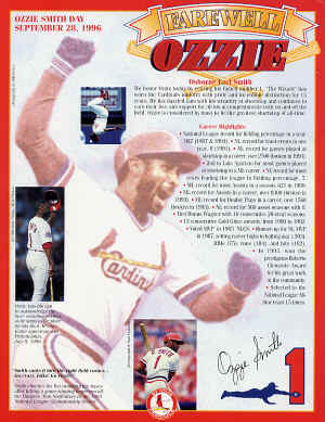 Ozzie Smith Day 9-28-1996 - St. Louis Cardinals (SGA)