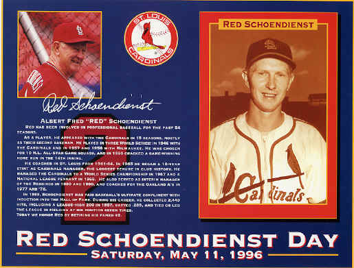Red Schoendienst Day - 5-11-1996
